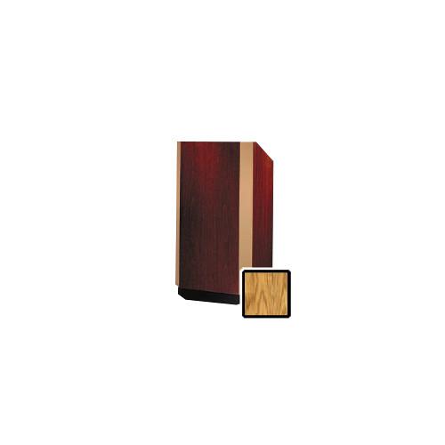 """Da-Lite Yorkshire 25"""" Height Adjustable Floor Lectern with Gooseneck Microphone (Medium Oak Veneer, Bronze Trim)"""