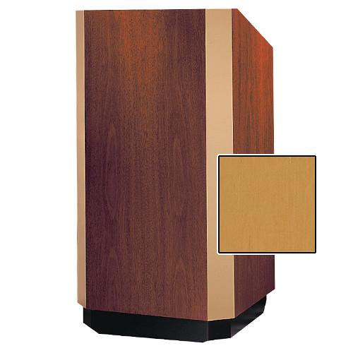 "Da-Lite Yorkshire Adjustable Floor Lectern with Premium Sound System (32"", Honey Maple Veneer, Brass Trim)"