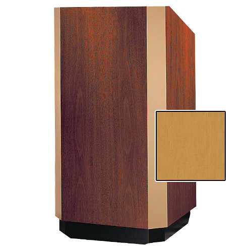 "Da-Lite Yorkshire Adjustable Floor Lectern with Premium Sound System (32"", Honey Maple Veneer, Brass Trim)"
