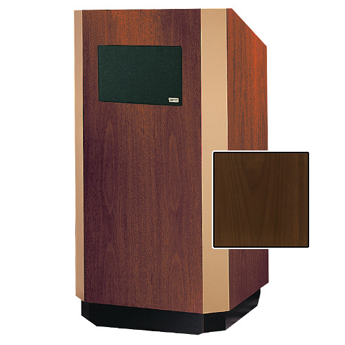"Da-Lite Yorkshire Adjustable Floor Lectern with Premium Sound System (32"", Heritage Walnut Veneer, Bronze Trim)"
