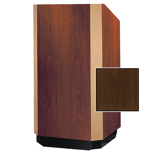 "Da-Lite Yorkshire Adjustable Floor Lectern with Premium Sound System (32"", Natural Walnut Veneer, Brass Trim)"