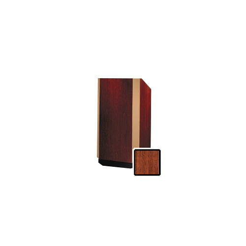 "Da-Lite Yorkshire 32"" Floor Lectern with Electric Height Adjustment and Gooseneck Microphone (Mahogany Veneer, Bronze Trim)"