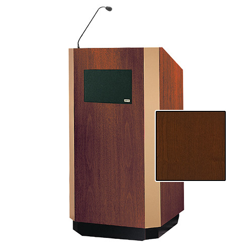 "Da-Lite Yorkshire Tabletop Lectern with Microphone and Premium Sound System (25"", Cherry Veneer, Brass Trim, 220V)"