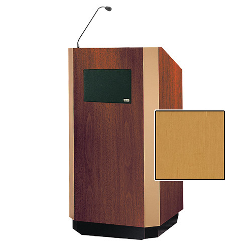 "Da-Lite Yorkshire Tabletop Lectern with Microphone and Premium Sound System (25"", Honey Maple Veneer, Brass Trim, 220V)"