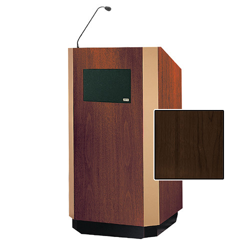 "Da-Lite Yorkshire Tabletop Lectern with Microphone and Premium Sound System (25"", Heritage Walnut Veneer, Bronze Trim, 220V)"
