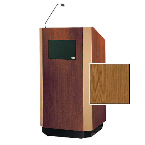 "Da-Lite Yorkshire Tabletop Lectern with Microphone and Premium Sound System (25"", Medium Oak Veneer, Brass Trim, 220V)"