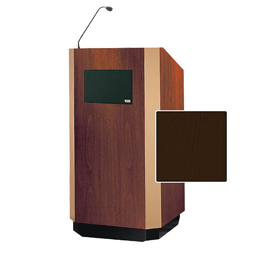 "Da-Lite Yorkshire Tabletop Lectern with Microphone and Premium Sound System (25"", Mahogany Veneer, Brass Trim, 220V)"