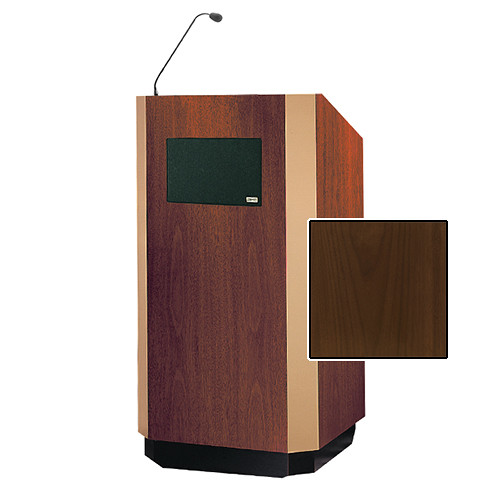 "Da-Lite Yorkshire Tabletop Lectern with Microphone and Premium Sound System (25"", Natural Walnut Veneer, Brass Trim, 220V)"