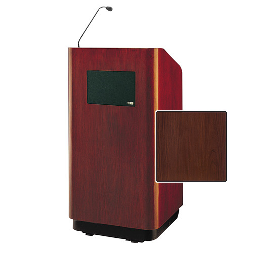 "Da-Lite Concord Special Needs Adjustable Floor Lectern with Microphone and Premium Sound System (42"", Cherry Laminate, 220V)"
