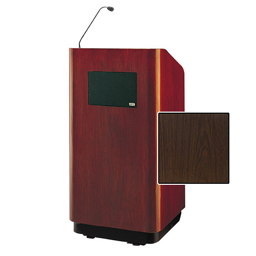 """Da-Lite Concord Special Needs Adjustable Floor Lectern with Microphone and Premium Sound System (42"""", Gunstock Walnut Laminate, 220V)"""