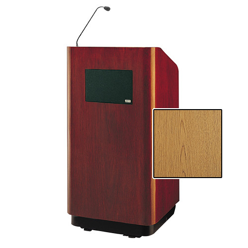 """Da-Lite Concord Special Needs Adjustable Floor Lectern with Microphone and Premium Sound System (42"""", Light Oak Laminate, 220V)"""