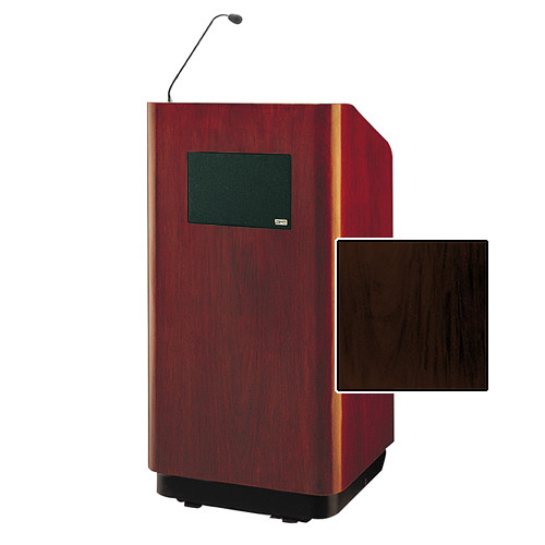 "Da-Lite Concord Special Needs Adjustable Floor Lectern with Microphone and Premium Sound System (42"", Mahogany Laminate, 220V)"