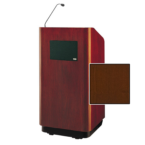 "Da-Lite Concord Special Needs Adjustable Floor Lectern with Microphone and Premium Sound System (42"", Cherry Veneer, 220V)"