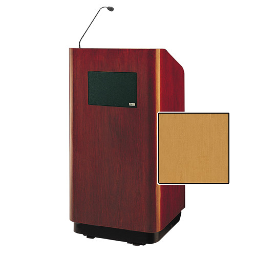 """Da-Lite Concord Special Needs Adjustable Floor Lectern with Microphone and Premium Sound System (42"""", Honey Maple Veneer, 220V)"""