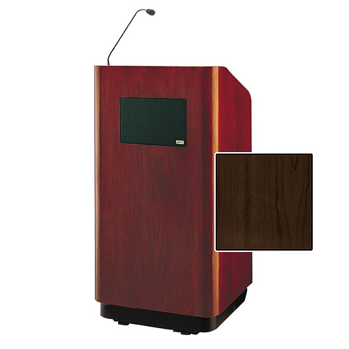 "Da-Lite Concord Special Needs Adjustable Floor Lectern with Microphone and Premium Sound System (42"", Heritage Walnut Veneer, 220V)"