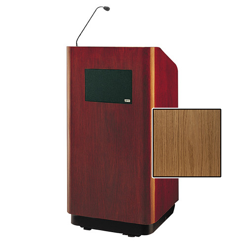 """Da-Lite Concord Special Needs Adjustable Floor Lectern with Microphone and Premium Sound System (42"""", Light Oak Veneer, 220V)"""