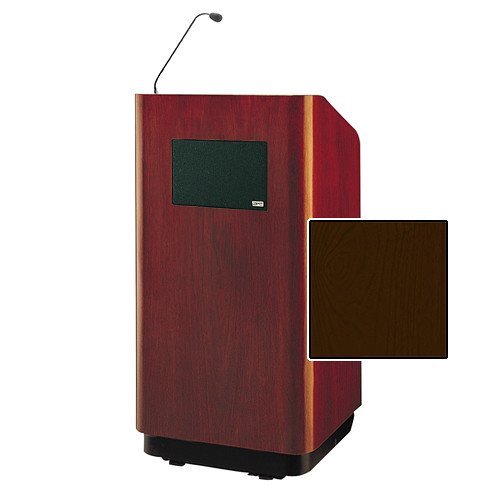 """Da-Lite Concord Special Needs Adjustable Floor Lectern with Microphone and Premium Sound System (42"""", Mahogany Veneer, 220V)"""