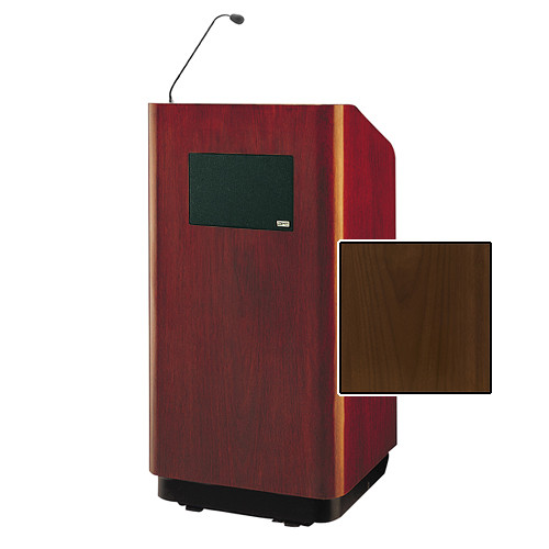 "Da-Lite Concord Special Needs Adjustable Floor Lectern with Microphone and Premium Sound System (42"", Natural Walnut Veneer, 220V)"