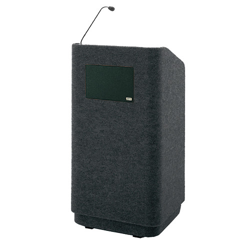 """Da-Lite Concord 42"""" Special Needs Floor Lectern with Gooseneck Microphone and Electric Height Adjustment (Black Carpeted)"""