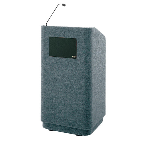 """Da-Lite Concord Special Needs Adjustable Floor Lectern with Microphone and Premium Sound System (42"""", Gray Carpet, 220V)"""