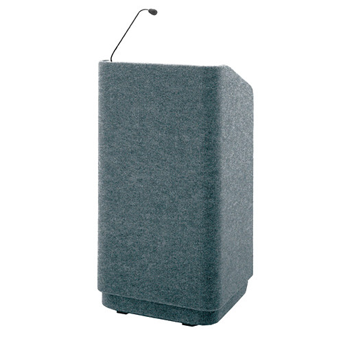 """Da-Lite Concord 42"""" Special Needs Floor Lectern with Gooseneck Microphone and Electric Height Adjustment (Gray Carpeted)"""