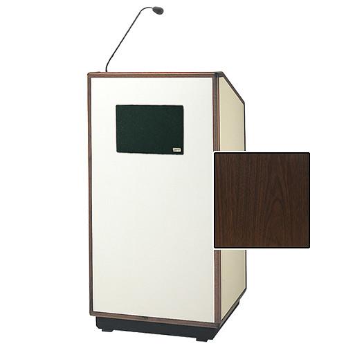 "Da-Lite Cambridge Special Needs Adjustable Floor Lectern with Microphone and Premium Sound System (42"", Gunstock Walnut Laminate, Wood Trim, 220V)"
