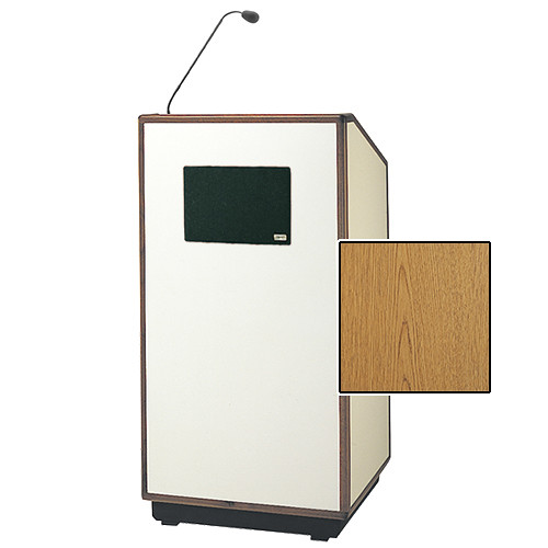 "Da-Lite Cambridge Special Needs Adjustable Floor Lectern with Microphone and Premium Sound System (42"", Light Oak Laminate, Wood Trim, 220V)"