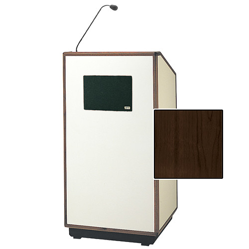 "Da-Lite Cambridge Special Needs Adjustable Floor Lectern with Microphone and Premium Sound System (42"", Heritage Walnut Veneer, Wood Trim, 220V)"