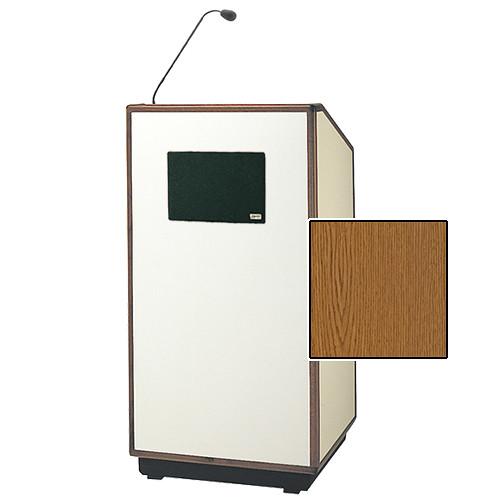"Da-Lite Cambridge Special Needs Adjustable Floor Lectern with Microphone and Premium Sound System (42"", Medium Oak Veneer, Wood Trim, 220V)"