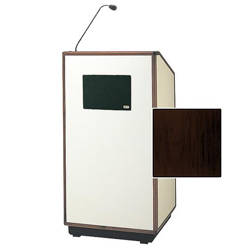 "Da-Lite Cambridge Special Needs Adjustable Floor Lectern with Microphone and Premium Sound System (42"", Mahogany Veneer, Wood Trim, 220V)"