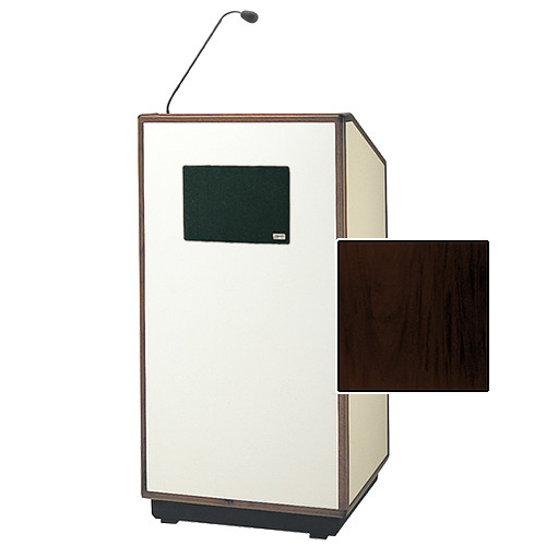 "Da-Lite Cambridge Special Needs Adjustable Floor Lectern with Microphone and Premium Sound System (42"", Mahogany Veneer, Wood Trim, 220V)"