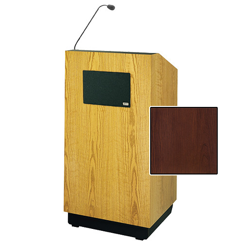 "Da-Lite Lexington Special Needs Adjustable Floor Lectern with Microphone and Premium Sound System (42"", Cherry Laminate, 220V)"