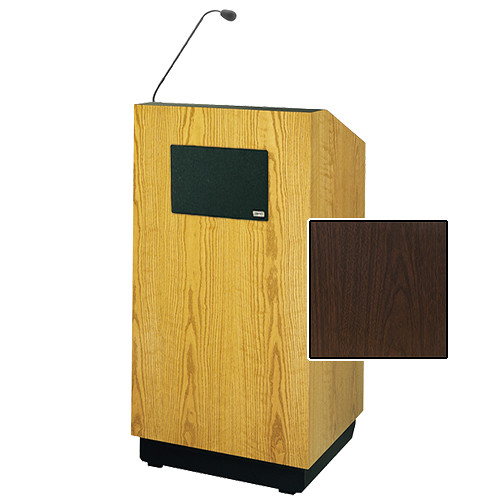 "Da-Lite Lexington 42"" Special Needs Floor Lectern with Gooseneck Microphone and Electric Height Adjustment (Gunstock Walnut Laminate)"