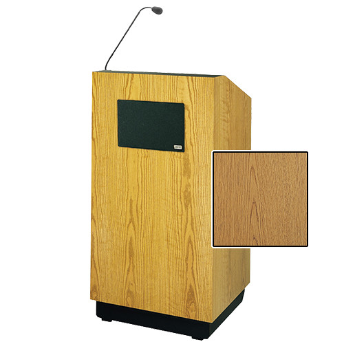 "Da-Lite Lexington 42"" Special Needs Floor Lectern with Gooseneck Microphone and Electric Height Adjustment (Light Oak Laminate)"