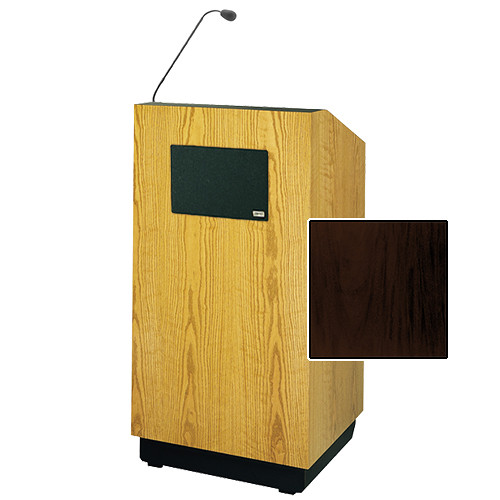 """Da-Lite Lexington 42"""" Special Needs Floor Lectern with Gooseneck Microphone and Electric Height Adjustment (Mahogany Laminate)"""