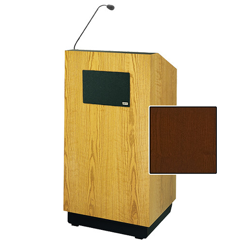 "Da-Lite Lexington Special Needs Adjustable Floor Lectern with Microphone and Premium Sound System (42"", Cherry Veneer, 220V)"
