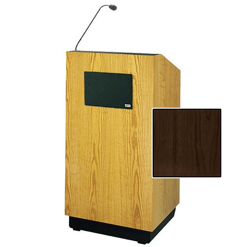 "Da-Lite Lexington Special Needs Adjustable Floor Lectern with Microphone and Premium Sound System (42"", Heritage Walnut Veneer, 220V)"