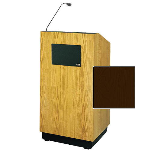 "Da-Lite Lexington Special Needs Adjustable Floor Lectern with Microphone and Premium Sound System (42"", Mahogany Veneer, 220V)"