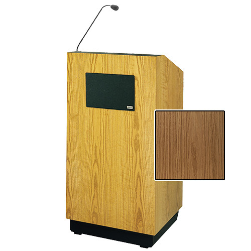 "Da-Lite Lexington 42"" Special Needs Floor Lectern with Gooseneck Microphone and Electric Height Adjustment (Light Oak Veneer)"