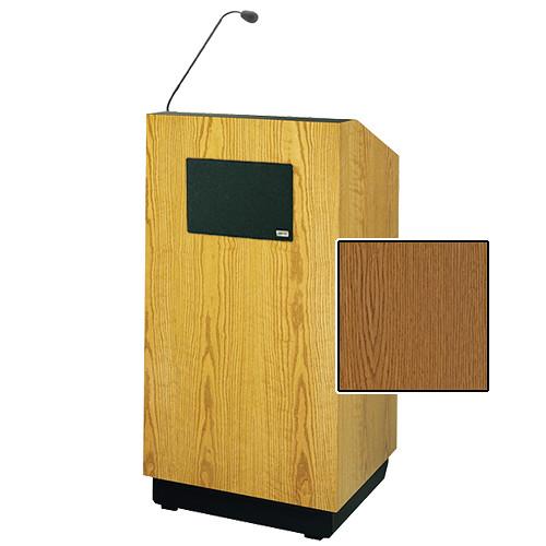 """Da-Lite Lexington 42"""" Special Needs Floor Lectern with Gooseneck Microphone and Electric Height Adjustment (Medium Oak Veneer)"""