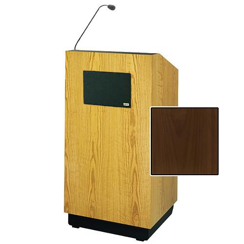 "Da-Lite Lexington 42"" Special Needs Floor Lectern with Gooseneck Microphone and Electric Height Adjustment (Natural Walnut Veneer)"