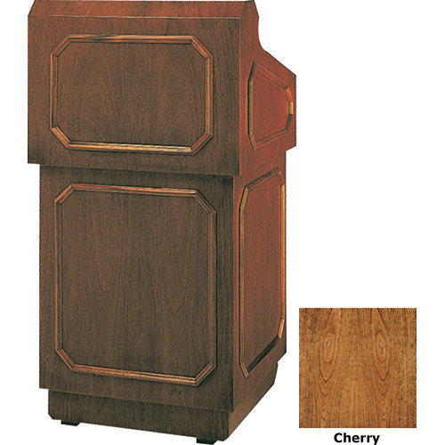 "Da-Lite Hamilton 42"" Special Needs Floor Lectern with Height Adjustment and Gooseneck Microphone (Cherry Veneer)"