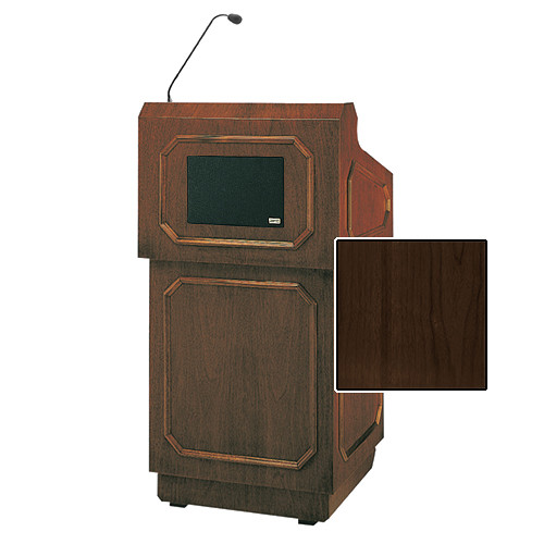 "Da-Lite Hamilton Special Needs Adjustable Floor Lectern with Microphone and Premium Sound System (42"", Heritage Walnut Veneer, 220V)"