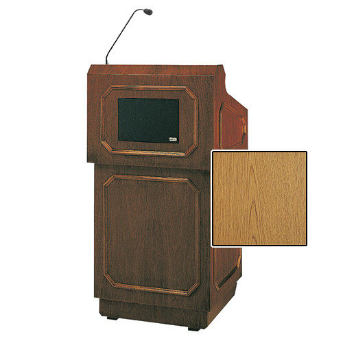"Da-Lite Hamilton Special Needs Adjustable Floor Lectern with Microphone and Premium Sound System (42"", Light Oak Veneer, 220V)"