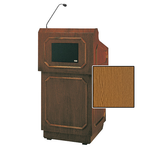 "Da-Lite Hamilton Special Needs Adjustable Floor Lectern with Microphone and Premium Sound System (42"", Medium Oak Veneer, 220V)"