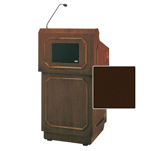 "Da-Lite Hamilton Special Needs Adjustable Floor Lectern with Microphone and Premium Sound System (42"", Mahogany Veneer, 220V)"