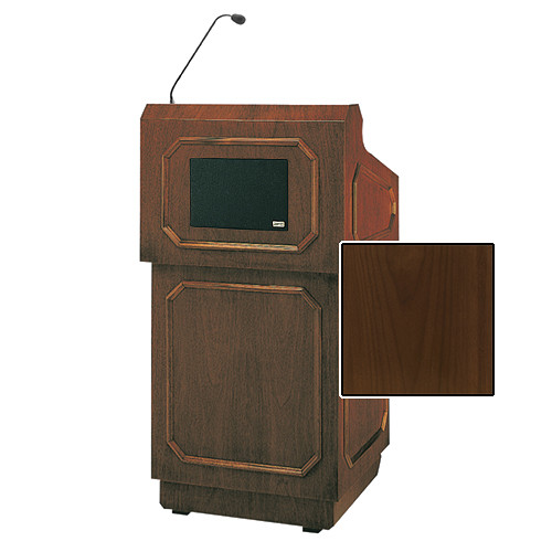 "Da-Lite Hamilton Special Needs Adjustable Floor Lectern with Microphone and Premium Sound System (42"", Natural Walnut Veneer, 220V)"