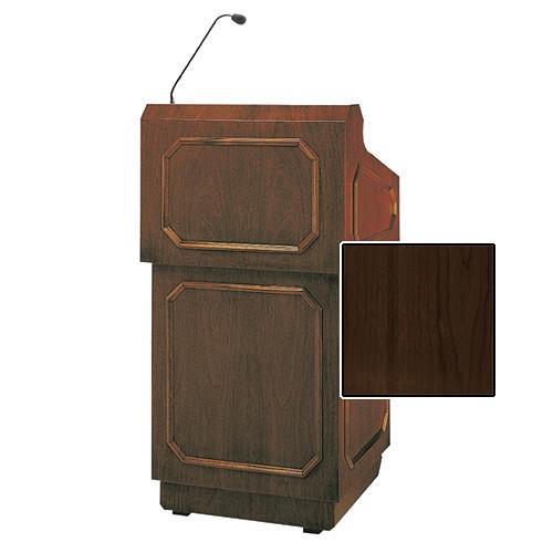 """Da-Lite Hamilton 42"""" Special Needs Floor Lectern with Height Adjustment and Gooseneck Microphone (Heritage Walnut Veneer)"""