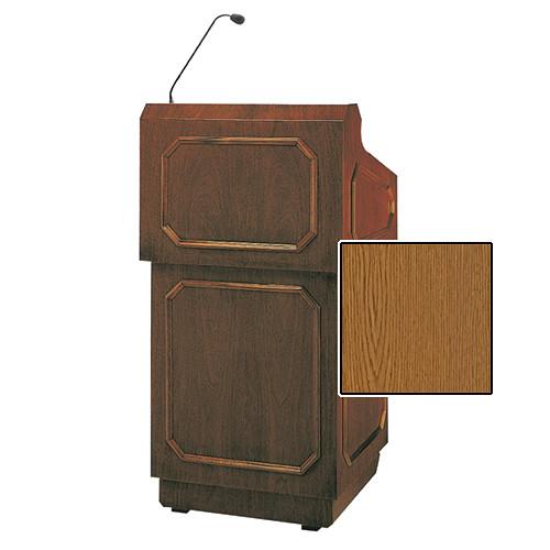"""Da-Lite Hamilton 42"""" Special Needs Floor Lectern with Height Adjustment and Gooseneck Microphone (Medium Oak Veneer)"""