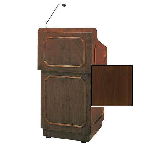 "Da-Lite Hamilton 42"" Special Needs Floor Lectern with Height Adjustment and Gooseneck Microphone (Natural Walnut Veneer)"